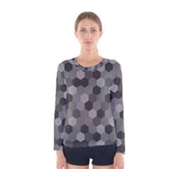 Camo Hexagons In Black And Grey Women s Long Sleeve Tee