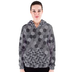 Camo Hexagons In Black And Grey Women s Zipper Hoodie