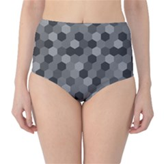 Camo Hexagons In Black And Grey High Waist Bikini Bottoms