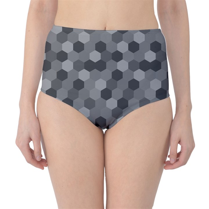 Camo Hexagons in Black and Grey High-Waist Bikini Bottoms