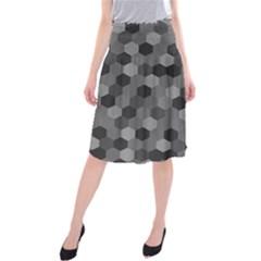 Camo Hexagons In Black And Grey Midi Beach Skirt