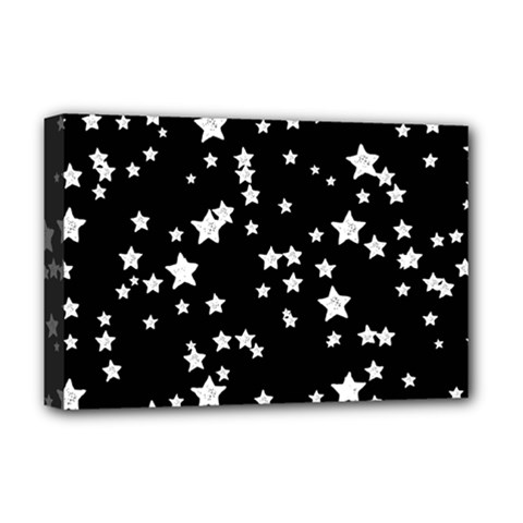 Black And White Starry Pattern Deluxe Canvas 18  X 12   by DanaeStudio