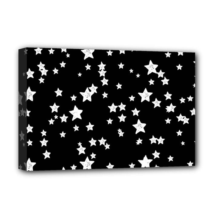 Black And White Starry Pattern Deluxe Canvas 18  x 12