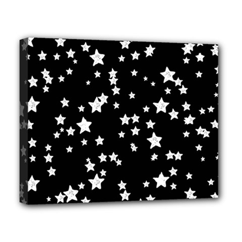 Black And White Starry Pattern Deluxe Canvas 20  X 16   by DanaeStudio