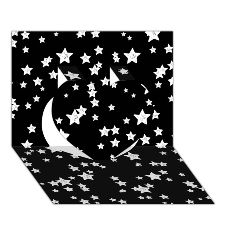 Black And White Starry Pattern Heart 3D Greeting Card (7x5)