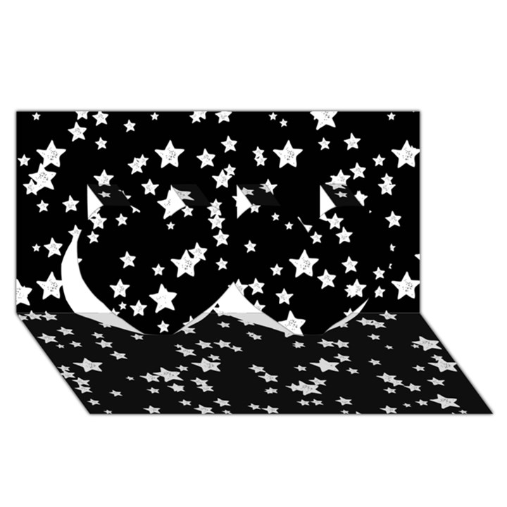 Black And White Starry Pattern Twin Hearts 3D Greeting Card (8x4)