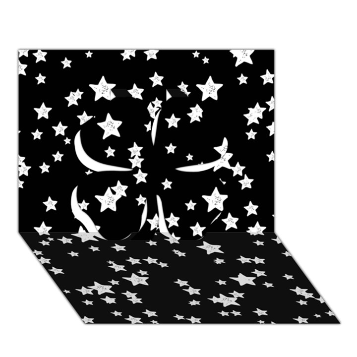 Black And White Starry Pattern Clover 3D Greeting Card (7x5)