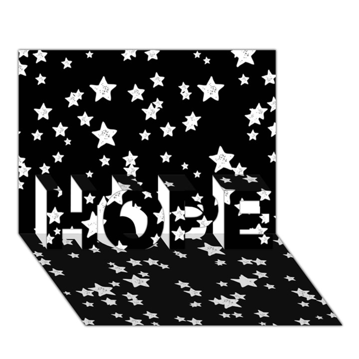 Black And White Starry Pattern HOPE 3D Greeting Card (7x5)