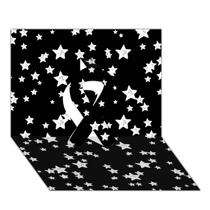 Black And White Starry Pattern Ribbon 3D Greeting Card (7x5)