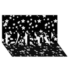 Black And White Starry Pattern Party 3d Greeting Card (8x4) by DanaeStudio