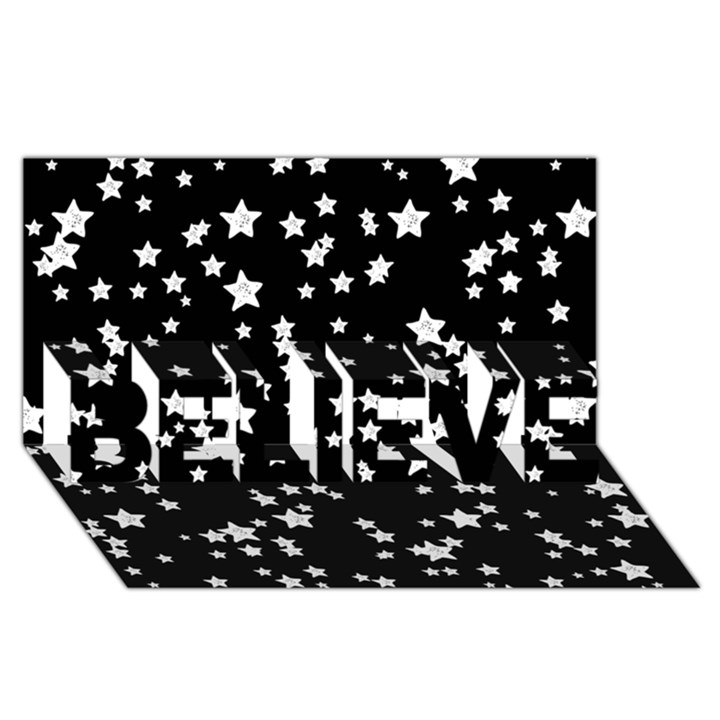 Black And White Starry Pattern BELIEVE 3D Greeting Card (8x4)