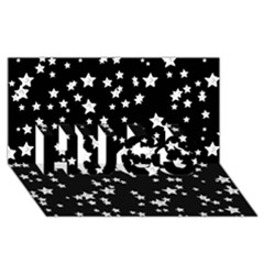 Black And White Starry Pattern Hugs 3d Greeting Card (8x4) by DanaeStudio