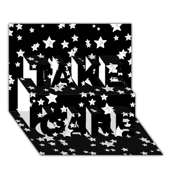 Black And White Starry Pattern TAKE CARE 3D Greeting Card (7x5)