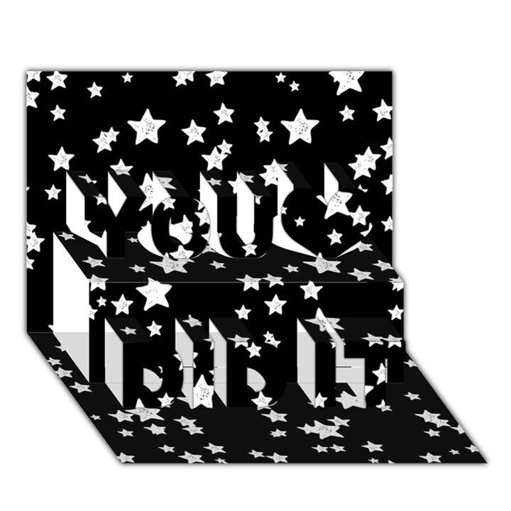 Black And White Starry Pattern You Did It 3D Greeting Card (7x5)