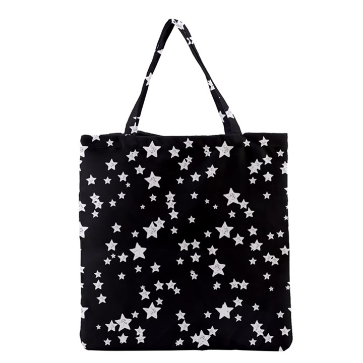 Black And White Starry Pattern Grocery Tote Bag