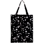 Black And White Starry Pattern Zipper Classic Tote Bag
