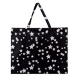 Black And White Starry Pattern Zipper Large Tote Bag