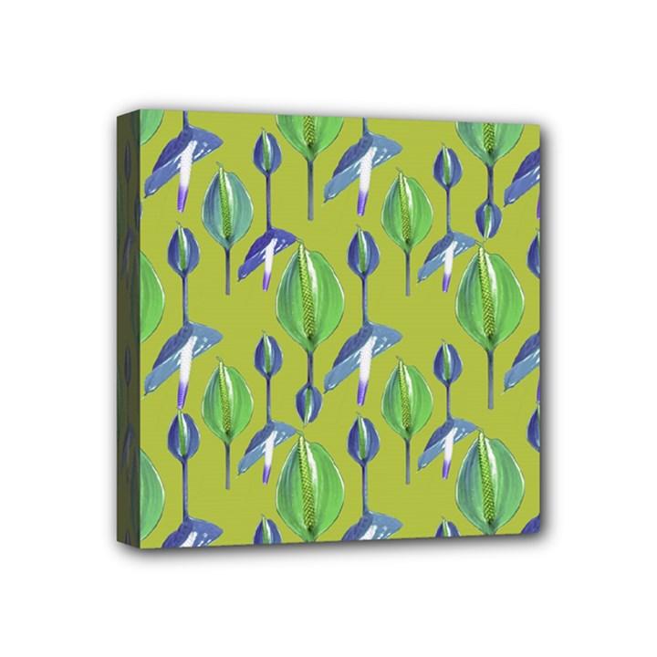 Tropical Floral Pattern Mini Canvas 4  x 4