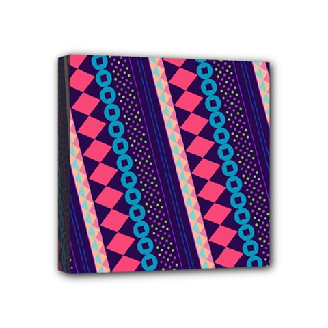 Purple And Pink Retro Geometric Pattern Mini Canvas 4  X 4  by DanaeStudio