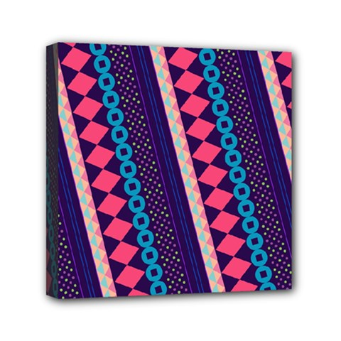 Purple And Pink Retro Geometric Pattern Mini Canvas 6  X 6  by DanaeStudio