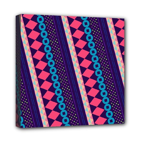 Purple And Pink Retro Geometric Pattern Mini Canvas 8  X 8  by DanaeStudio