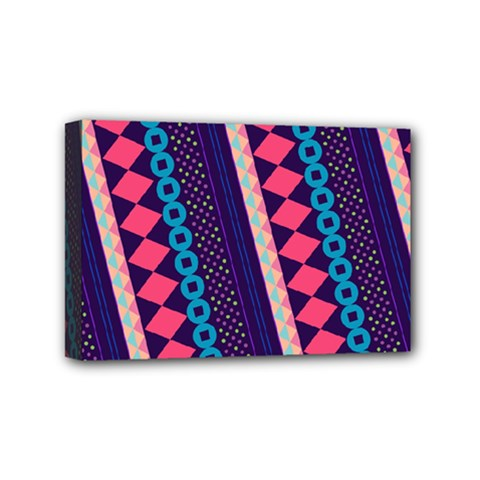 Purple And Pink Retro Geometric Pattern Mini Canvas 6  X 4  by DanaeStudio