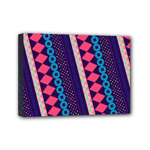 Purple And Pink Retro Geometric Pattern Mini Canvas 7  X 5  by DanaeStudio