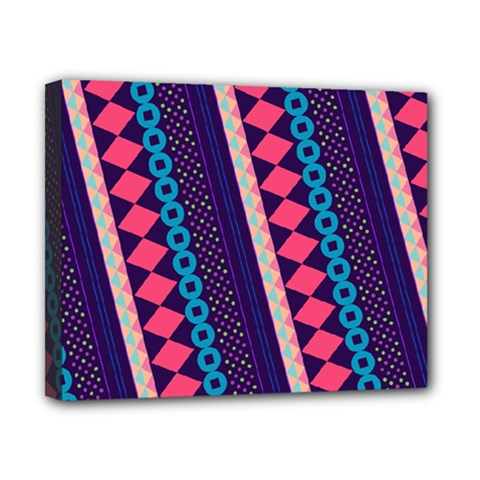 Purple And Pink Retro Geometric Pattern Canvas 10  X 8  by DanaeStudio