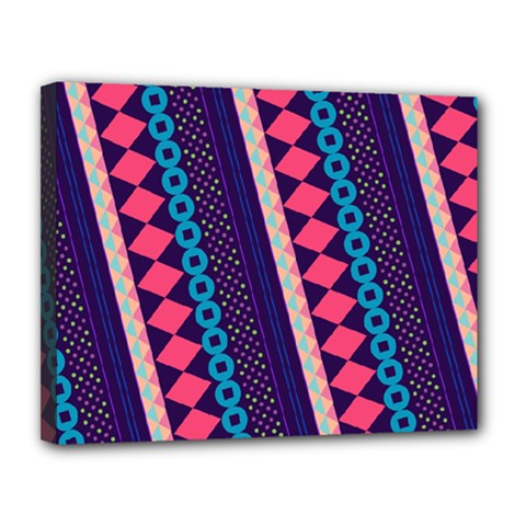 Purple And Pink Retro Geometric Pattern Canvas 14  X 11  by DanaeStudio