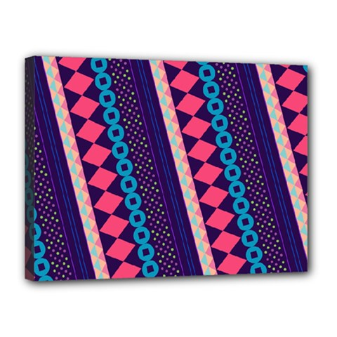 Purple And Pink Retro Geometric Pattern Canvas 16  X 12  by DanaeStudio