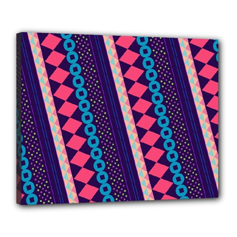Purple And Pink Retro Geometric Pattern Canvas 20  X 16