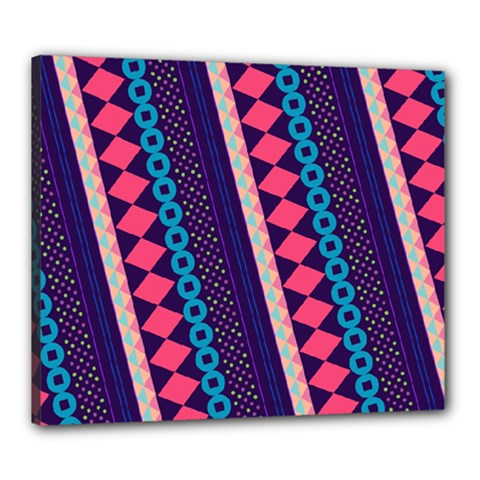 Purple And Pink Retro Geometric Pattern Canvas 24  X 20  by DanaeStudio