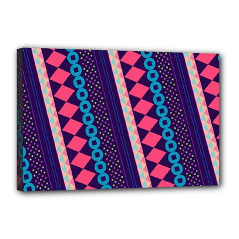 Purple And Pink Retro Geometric Pattern Canvas 18  X 12  by DanaeStudio
