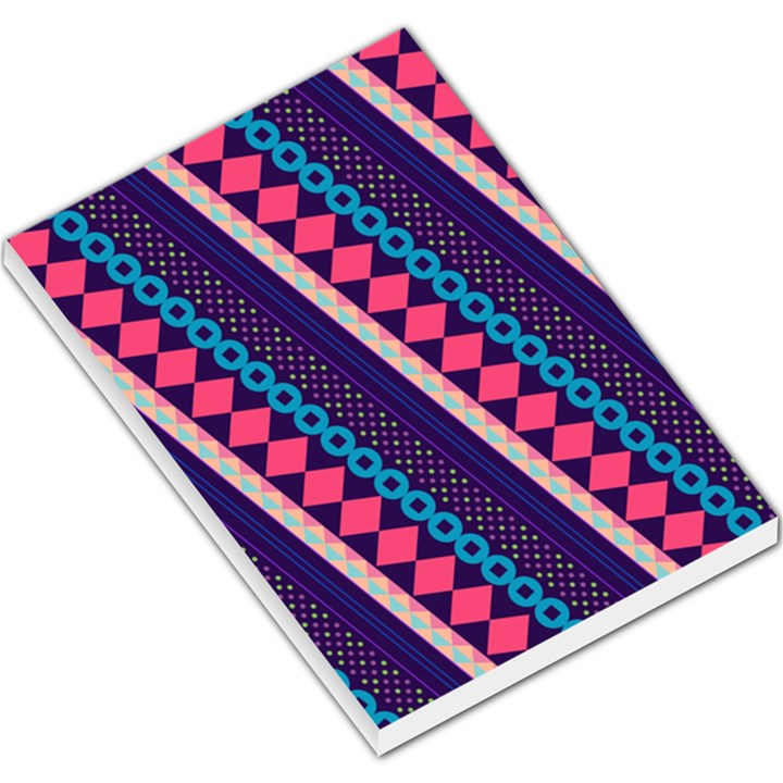 Purple And Pink Retro Geometric Pattern Large Memo Pads