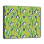 Tropical Floral Pattern Deluxe Canvas 24  x 20