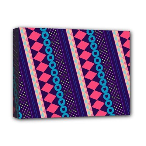 Purple And Pink Retro Geometric Pattern Deluxe Canvas 16  X 12   by DanaeStudio