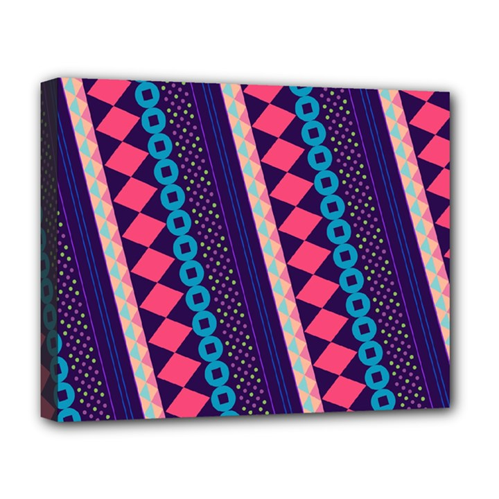 Purple And Pink Retro Geometric Pattern Deluxe Canvas 20  x 16