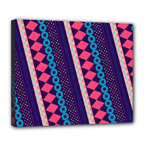 Purple And Pink Retro Geometric Pattern Deluxe Canvas 24  X 20   by DanaeStudio