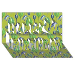 Tropical Floral Pattern Happy Birthday 3D Greeting Card (8x4)