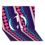 Purple And Pink Retro Geometric Pattern Peace Sign 3D Greeting Card (7x5)