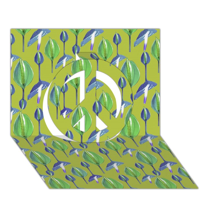 Tropical Floral Pattern Peace Sign 3D Greeting Card (7x5)