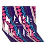 Purple And Pink Retro Geometric Pattern TAKE CARE 3D Greeting Card (7x5)