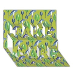 Tropical Floral Pattern TAKE CARE 3D Greeting Card (7x5)