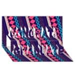 Purple And Pink Retro Geometric Pattern Congrats Graduate 3D Greeting Card (8x4)