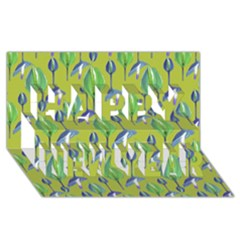Tropical Floral Pattern Happy New Year 3D Greeting Card (8x4)
