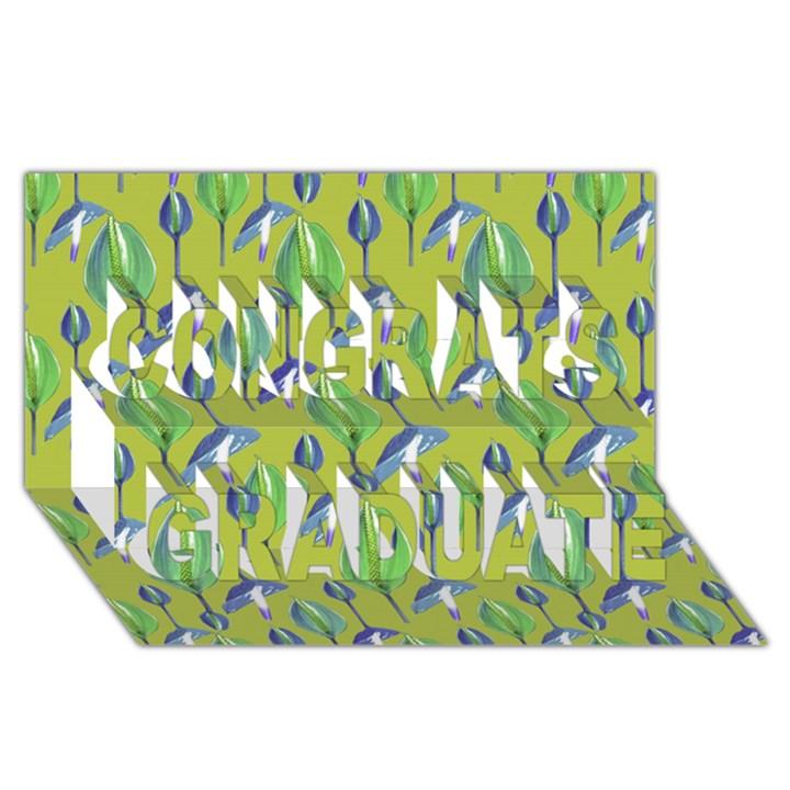 Tropical Floral Pattern Congrats Graduate 3D Greeting Card (8x4)