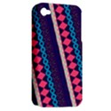 Purple And Pink Retro Geometric Pattern Apple iPhone 4/4S Hardshell Case (PC+Silicone) View2