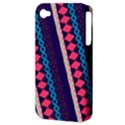 Purple And Pink Retro Geometric Pattern Apple iPhone 4/4S Hardshell Case (PC+Silicone) View3
