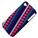 Purple And Pink Retro Geometric Pattern Apple iPhone 4/4S Hardshell Case (PC+Silicone) View4