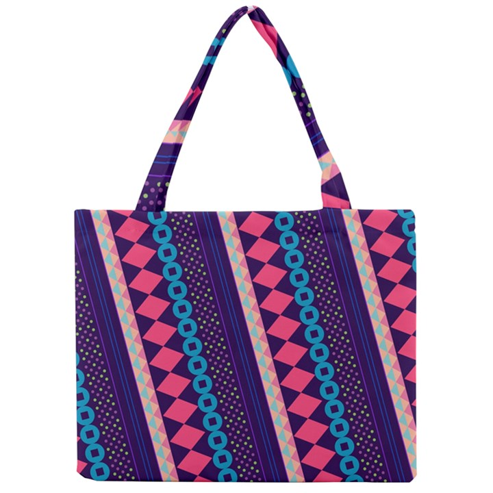 Purple And Pink Retro Geometric Pattern Mini Tote Bag